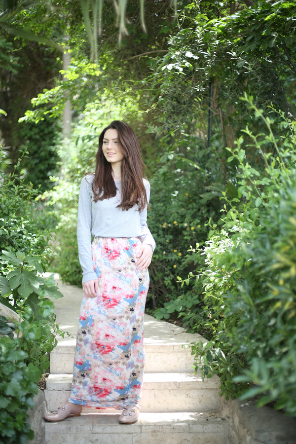 Maxi Skirt/ Colorful Floral