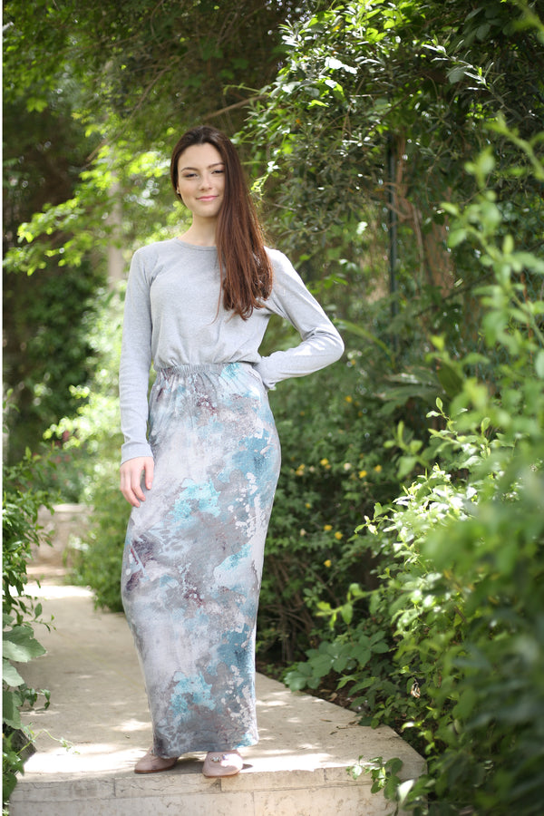 Maxi Skirt/ Grey and Blue Tie Die