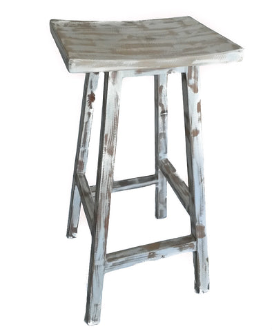 Barstool made from solid, re-purposed reclaimed wood with a beautiful, whitewashed finish. Handmade in Cape Town by Rustic Wood.