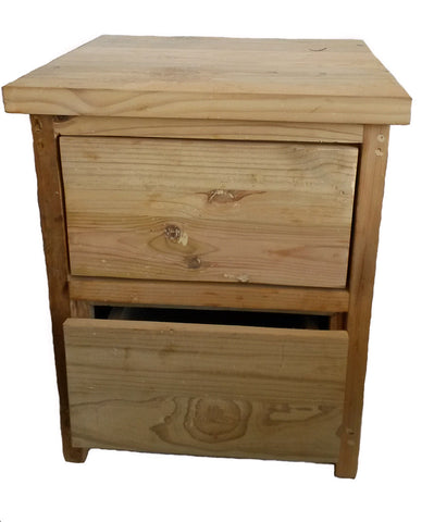 Refined Rustic Bedside Table, 2-drawer - CraftEMarket Pty Ltd