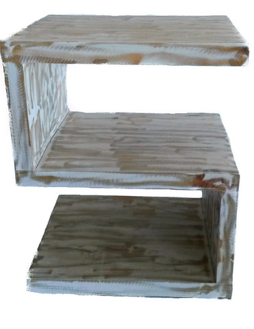 Zoomed in S-Shape Rustic Wooden Shelf Unit, painted white and partially sanded to reveal some of the raw wood.