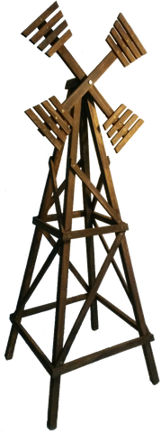Large garden windmill made out of hardwood, used as support for climbing plants. Handmade in Cape Town by Garden Carpentry