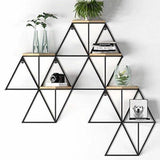 6 Tier Geometric Wall Shelf - Metal and Wood. Available at Craft eMarket.