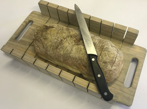 Ciabatta Bread Slicer Serving Board - Handmade from Recycled Wood - Craft eMarket