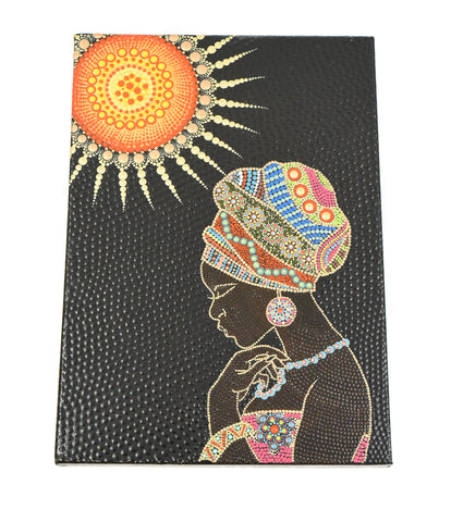 Africa Woman - Mandala Dot Painting on A3 Stretched Canvas by local artist - CraftEMarket Pty Ltd