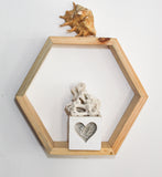 Hexagon Shaped Shelf, Raw reclaimed wood - Craft eMarket