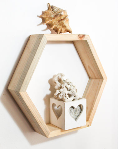 Hexagon Shaped Shelf, Raw reclaimed wood - CraftEMarket Pty Ltd