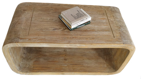 Oval Wooden Coffee Table - Handmade with Recycled Wood - Craft eMarket