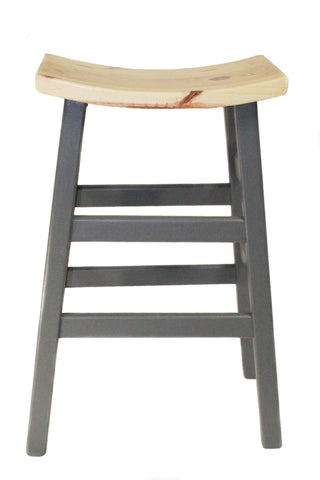 Bar Stool with Wooden Top and Painted Base - Craft eMarket