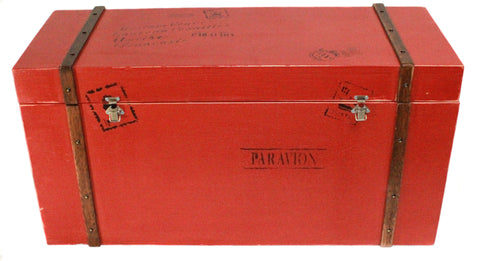 Bright Red Wooden Storage Chest with Metal Handles - CraftEMarket Pty Ltd