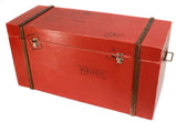 Bright Red Wooden Storage Chest with Metal Handles - Craft eMarket