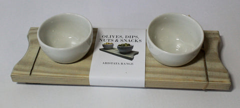 Olive, Dip, Nuts & Snacks Serving Board - Handmade from Recycled Wood - Craft eMarket