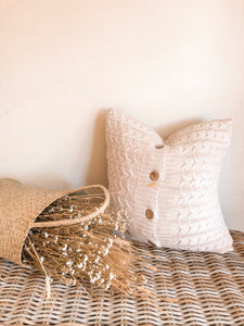 'Ivy' Cable Knit Cushion With Wooden Buttons