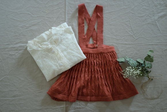 Rust Knitted Suspender Skirt