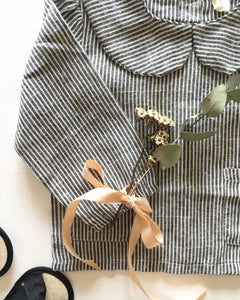 'Catrina' Charcoal Stripe Collar Blouse