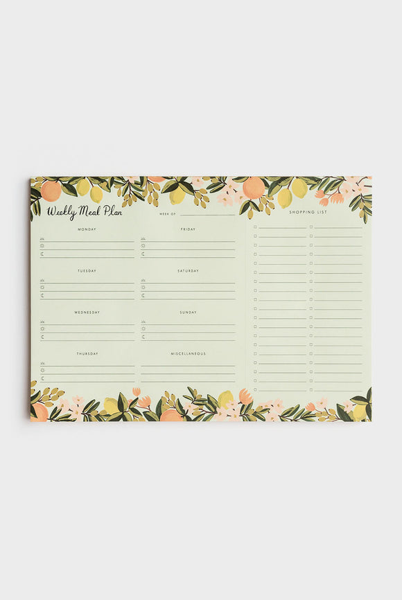 'Citrus' Meal Planner Notepad & Shopping List