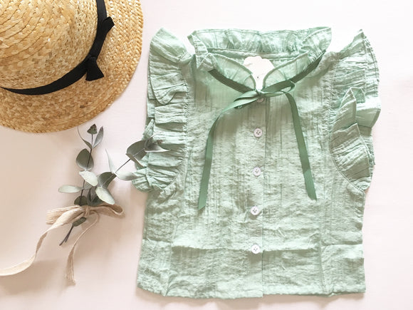 'Isabella' Mint Ruffle Sleeved Blouse
