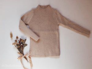 'Kate' Beige Ribbed Knit Top