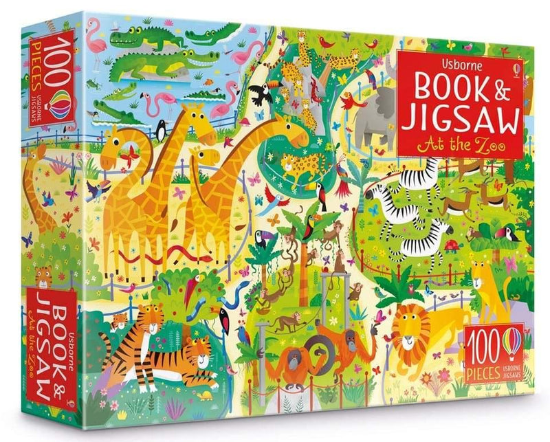 Usborne At the Zoo Puzzle Book and Jigsaw (100 pcs)-BuyBookBook