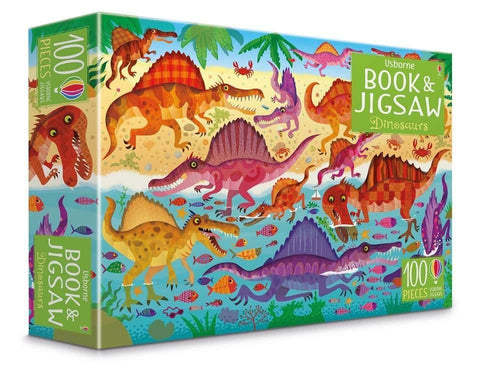 Usborne Dinosaurs puzzle book and jigsaw (100 pcs)-BuyBookBook