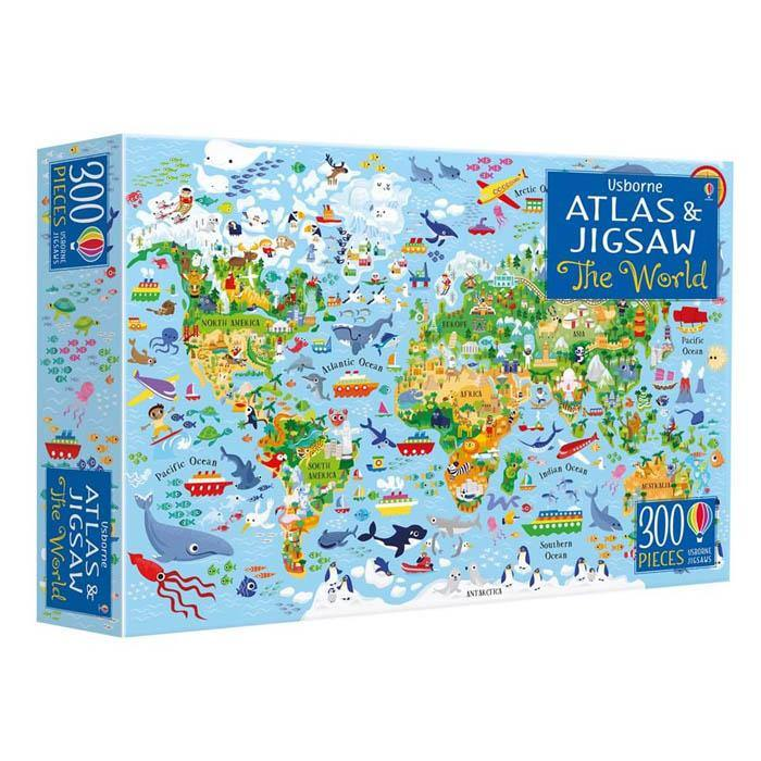 Usborne The World Atlas and Jigsaw (300 pcs with book)-BuyBookBook