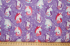 Fabric Shack Sewing Quilting Sew Fat Quarter Cotton Studio E Unicorn Unicorns Kisses Carriage Castle Cloud Start Hearts Butterflies Rainbow Magical Mystical Panel Lucie Lucy Crovatto Purple Lilac Tree Wood 5