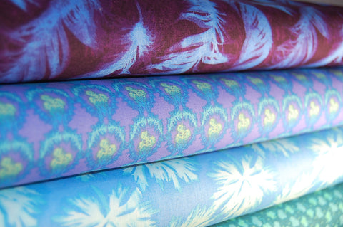 Free Spirit Nel Whatmore Ghost Collection Blue Green Purple Cotton Fabric
