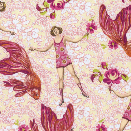 Free Spirit Tokyo Milk Margot Elena Neptune & the Mermaid Goldfish Koi Swimmer Vintage Pink Cotton Fabric