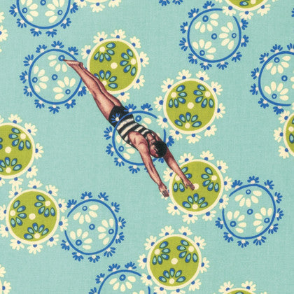 Free Spirit Tokyo Milk Margot Elena Neptune & the Mermaid Song of Siren Male Vintage Swimmer Blue Cotton Fabric