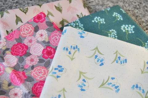 Lewis & Irene Flos Wildflowers Rose Lily Bluebell Forget Not Floral Cotton Fabric
