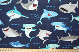 Shawn Wallace for Riley Blake Sharktown Shark Sea Octopus Puffa Fish Blue White Cotton Fabric Fat Quarter