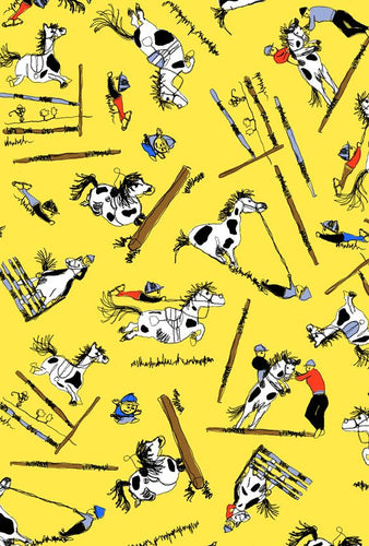 Jane Makower Gymkhana Hose Pony Yellow Cotton Fabric