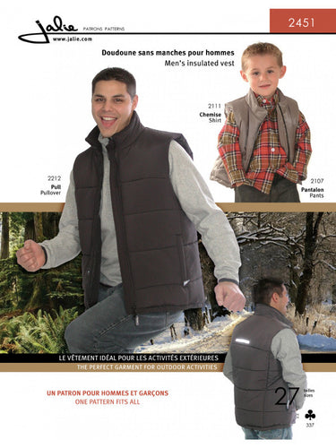 2451 Jalie Mens Gents Boys Childrens Gilet Gillet Insulated Vest sewing sew dressmaking wardrobe tailor tailoring clothes fashion (2)