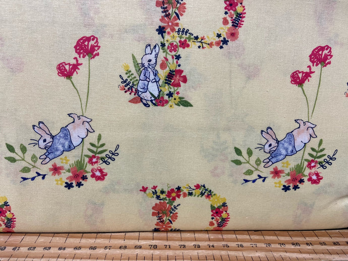3fabric shack sewing quilting sew fat quarter cotton quilt beatrix potter peter rabbit spring flowers wreath pink lemon white bumble bee butterfly