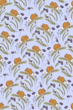Jane Makower Purple Field Mouse Mice Corn Purple Cotton Fabric