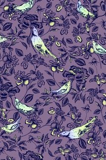 Jane Makower Purple Birds Flowers Cotton Fabric