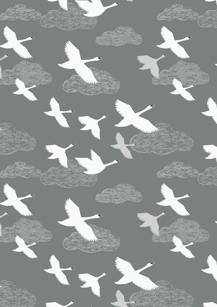 Lewis & Irene 'Down by the River' Swans in Flight Grey