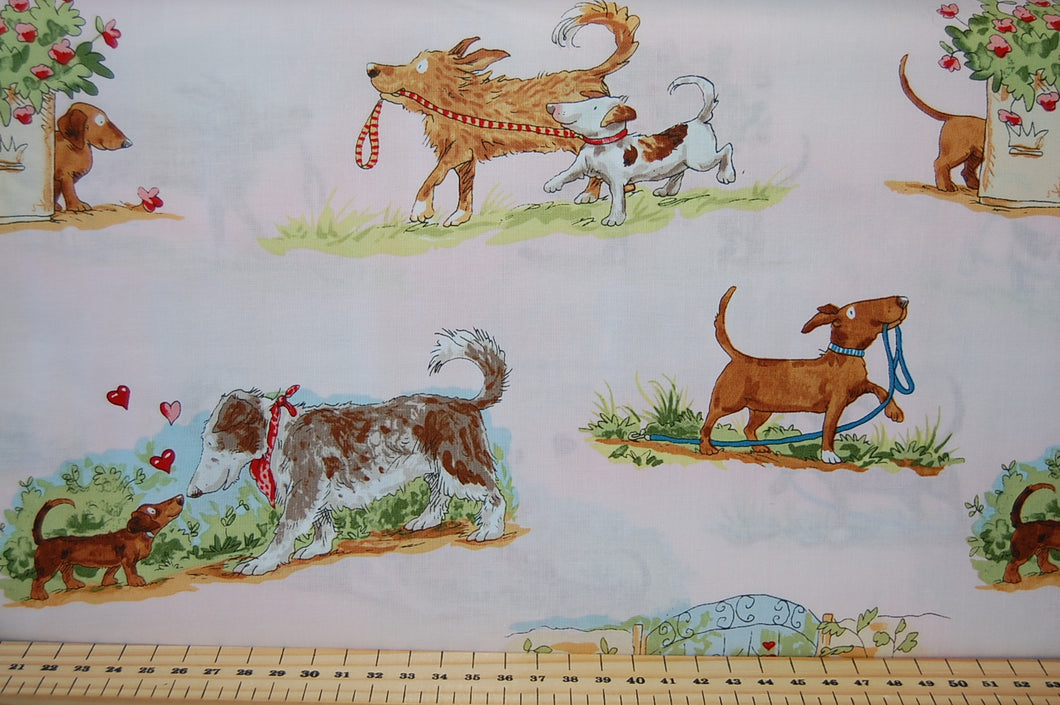 Anita Jeram Puppy Love Guess How Much I You Dog Dachshund Wiener Sausage Bull Terrier Mutt Heinz 57 Mixed Breed Letter Valentine Card Heart Red Bowl Treat Treats Snacks Food Bone Lead Tree Bird White Pink