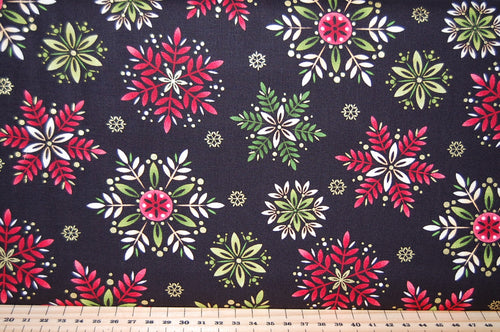 Art Loft for Studio E Christmas Holiday Rose Amaryllis Poinsettia Great Tit Cardinal Flower Bauble Tree Wreath Cotton Fabric Fat Quarter Black 2