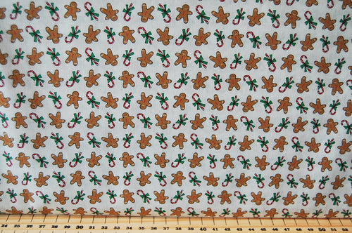 Bunny Hill Designs for Moda Sugar Plum Christmas Mini Gingerbread Man Candy Cane Cotton Fabric Cream