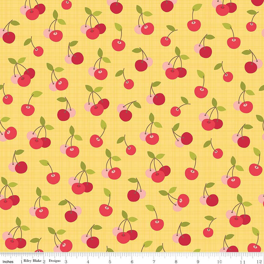 Riley Blake 'Farm Girl' Cherry Pie Cherries Yellow