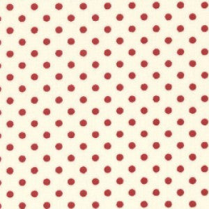 Rose & Hubble 3mm Red Spots/Polka Dots on Ivory