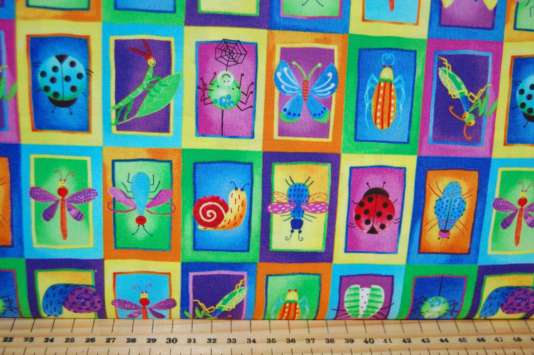 fabric shack sewing quilting sew fat quarter cotton quilt patchwork dress making blank bugs galore insects dragonfly butterfly ladybird spider bottles blue white