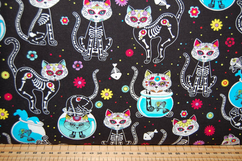 fabric shack sewing quilting sew fat quarter cotton quilts patchwork dress making timeless treasures sugar skulls pets cat dog black day of the dead dia de muertos