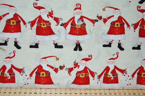 DTK Signature Studio E Around Town Christmas Noel Holidays Santa Father Christmas Jolly Robin Cotton Fabric Fat Quarter