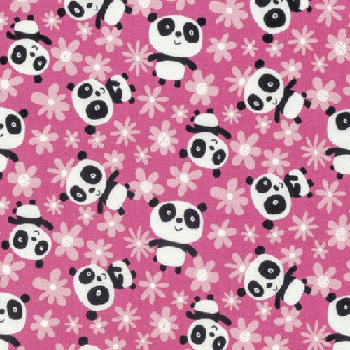 David Walker Free Spirit Panda Daisy Cotton Fabric Pink