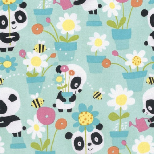 David Walker Free Spirit Panda Garden Party Flowers Bees Blue Cotton Fabric