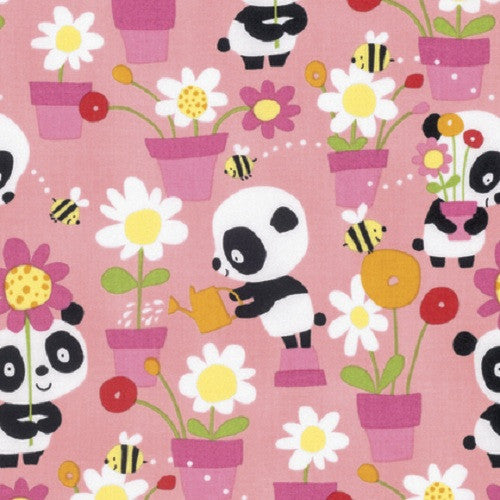 David Walker Free Spirit Panda Garden Party Flowers Bees Pink Cotton Fabric