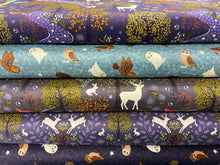 fabric shack sewing quilting sew fat quarter cotton sew quilt lewis and & irene winter nighttime night time bluebell wood glow in the dark snowy tawny brown owl fox snow winter christmas stag snow snowflake