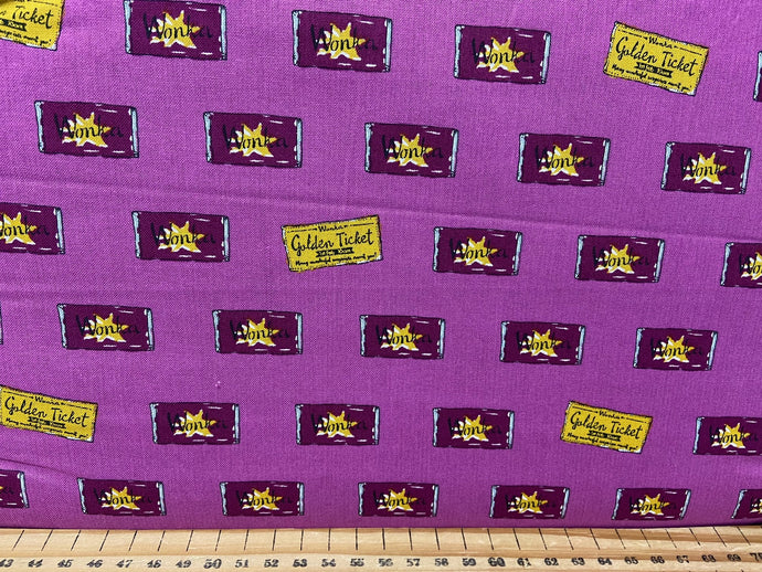 fabric shack sewing quilting sew fat quarter cotton patchwork quilt roald dahl quentin blake charlie and the chocolate factory sweeks wonka bars grandpa joe golden ticket wonka bar raspberry pink